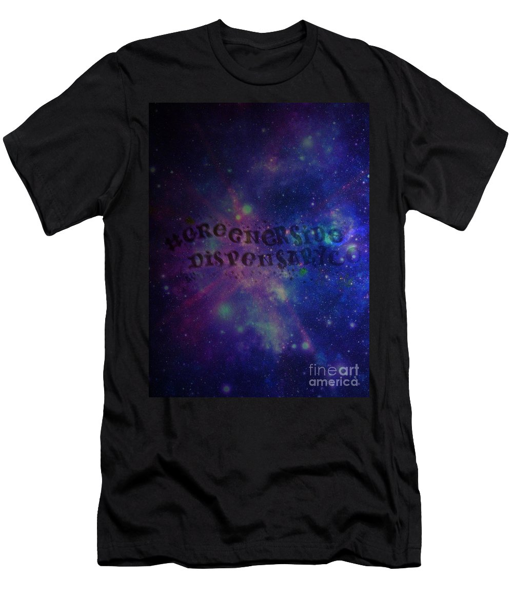 Men's T-Shirt (Athletic Fit) featuring the photograph Greener Side Dispensary In Space by Kelly Awad