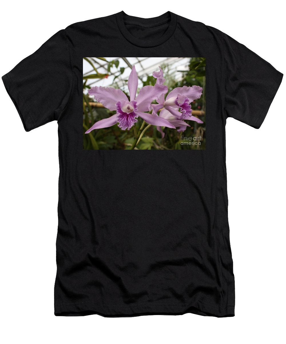 Flower Men's T-Shirt (Athletic Fit) featuring the photograph Greenhouse Ruffly Orchids by Carol Groenen