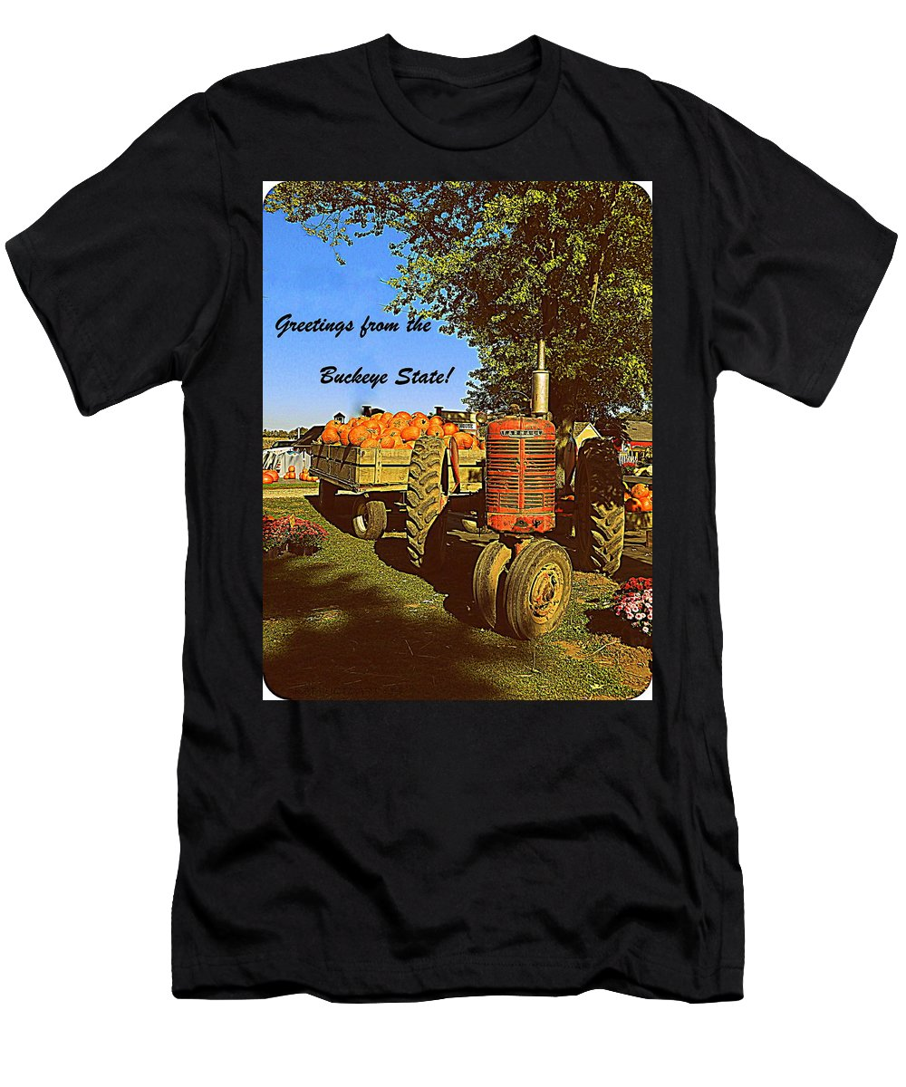 Post Card Men's T-Shirt (Athletic Fit) featuring the photograph Greetings From The Buckeye State by Kathy Barney