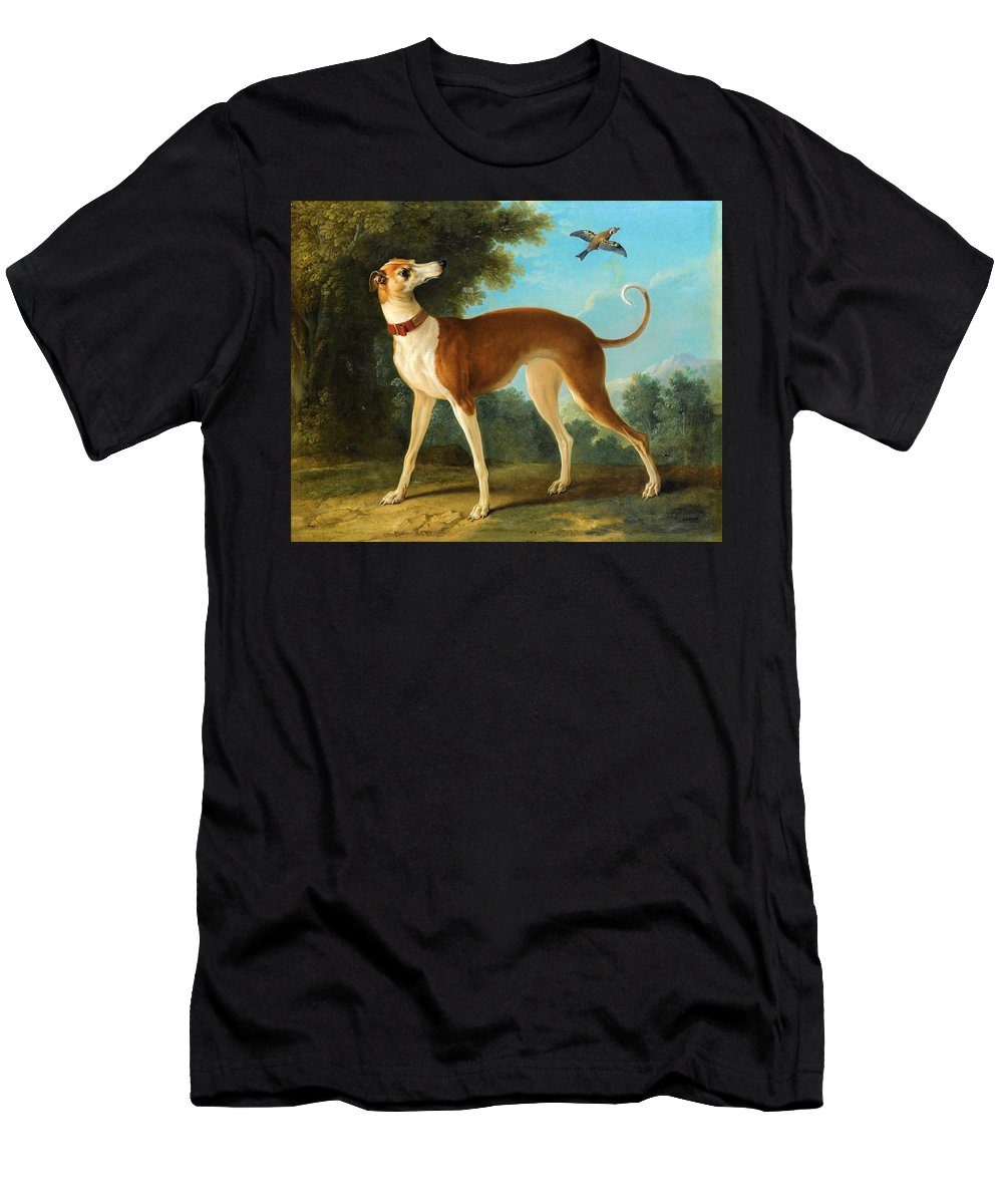 Jean-baptiste Oudry Men's T-Shirt (Athletic Fit) featuring the painting Greyhound In A Landscape by Jean-Baptiste Oudry