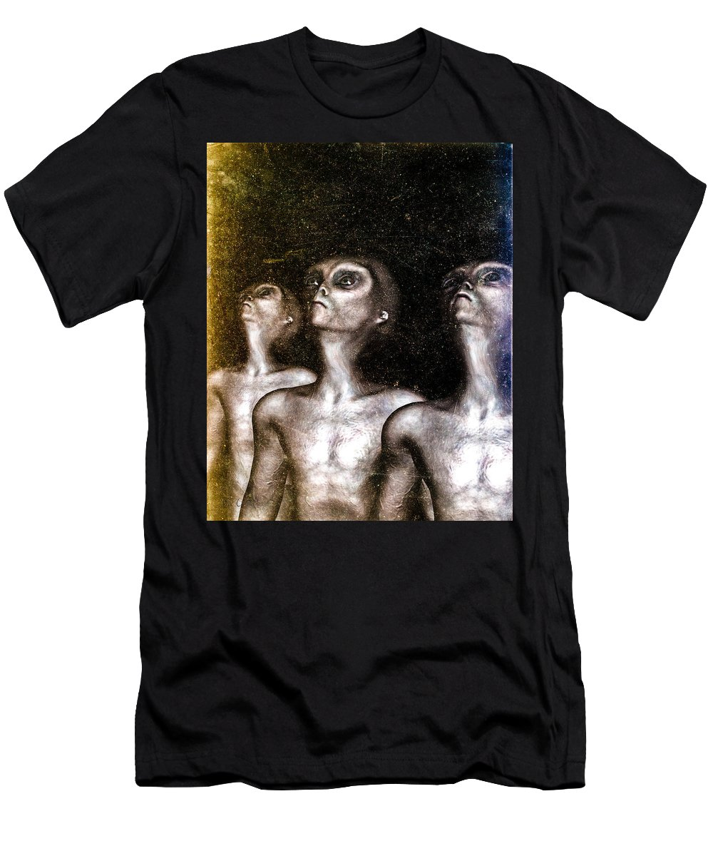 Alien Abduction Men's T-Shirt (Athletic Fit) featuring the digital art Greys by Bob Orsillo