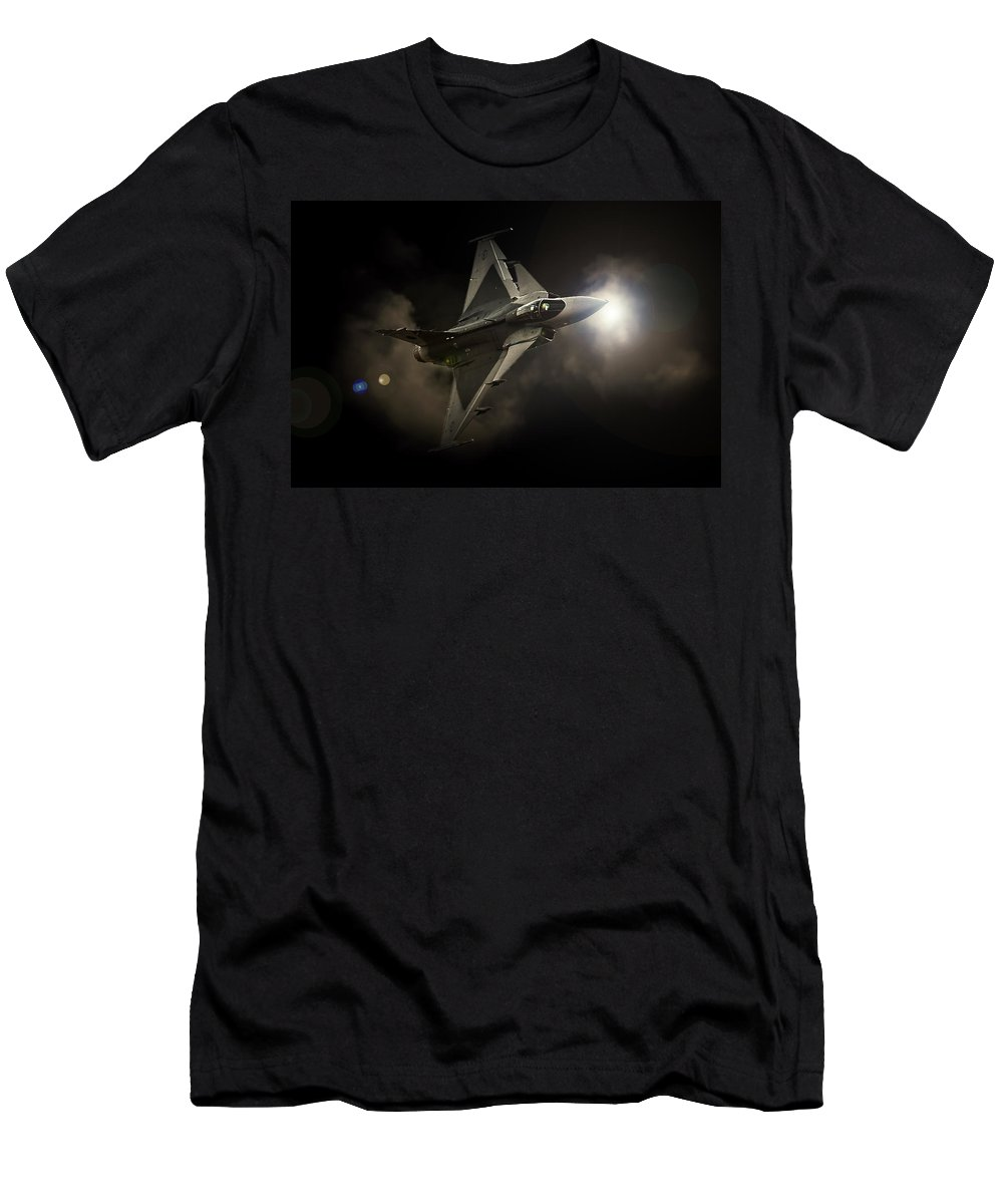 Saab Jas 39 Gripen Men's T-Shirt (Athletic Fit) featuring the photograph Gripen Light by Paul Job