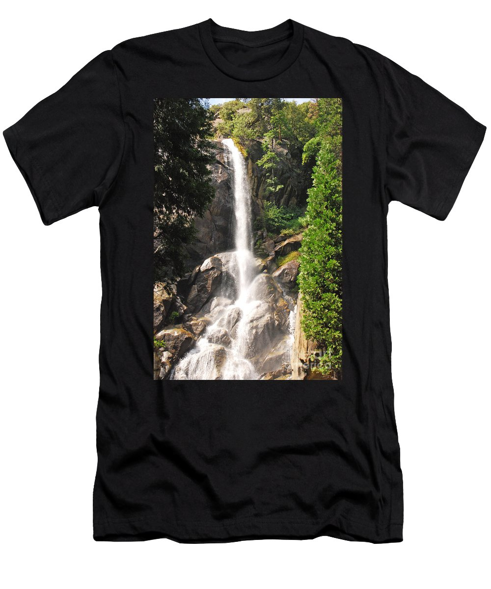 Landscape Men's T-Shirt (Athletic Fit) featuring the photograph Grizzly Falls by Mary Carol Story