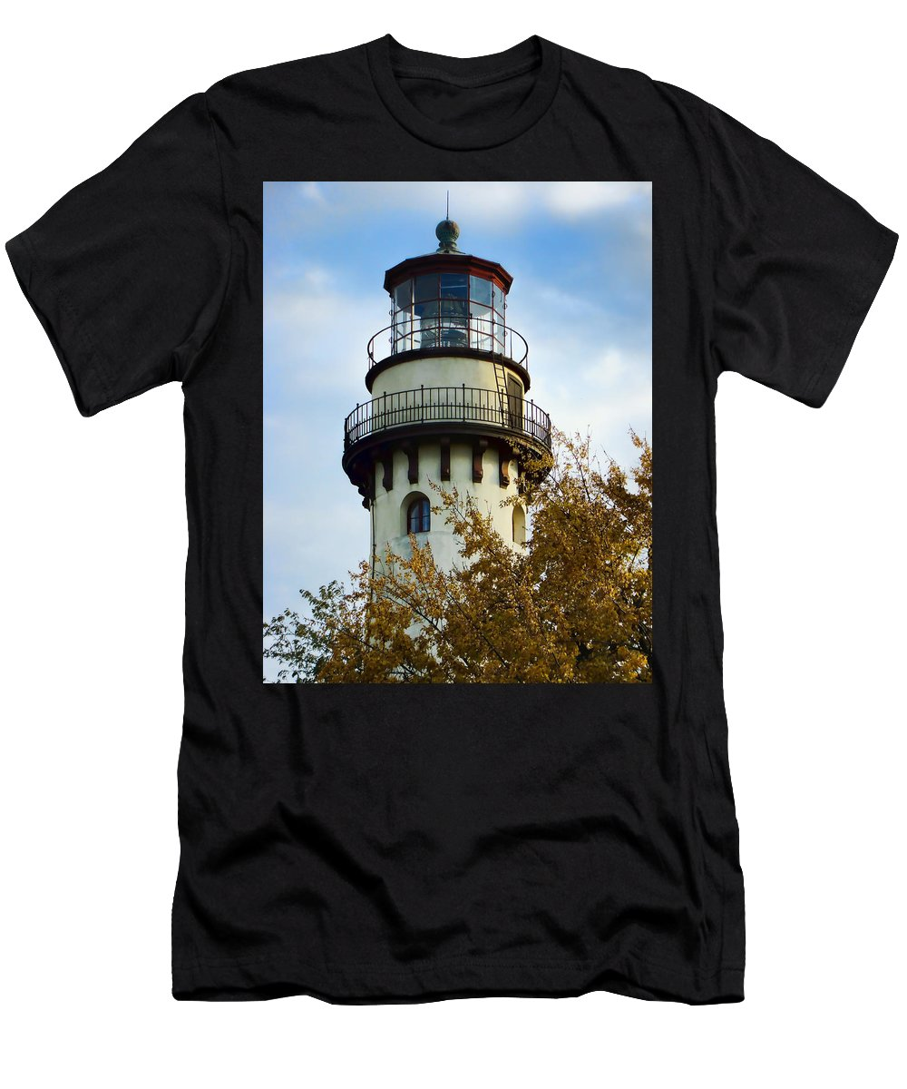 Grosse Point Lighthouse Men's T-Shirt (Athletic Fit) featuring the photograph Grosse Point Lighthouse by Phyllis Taylor