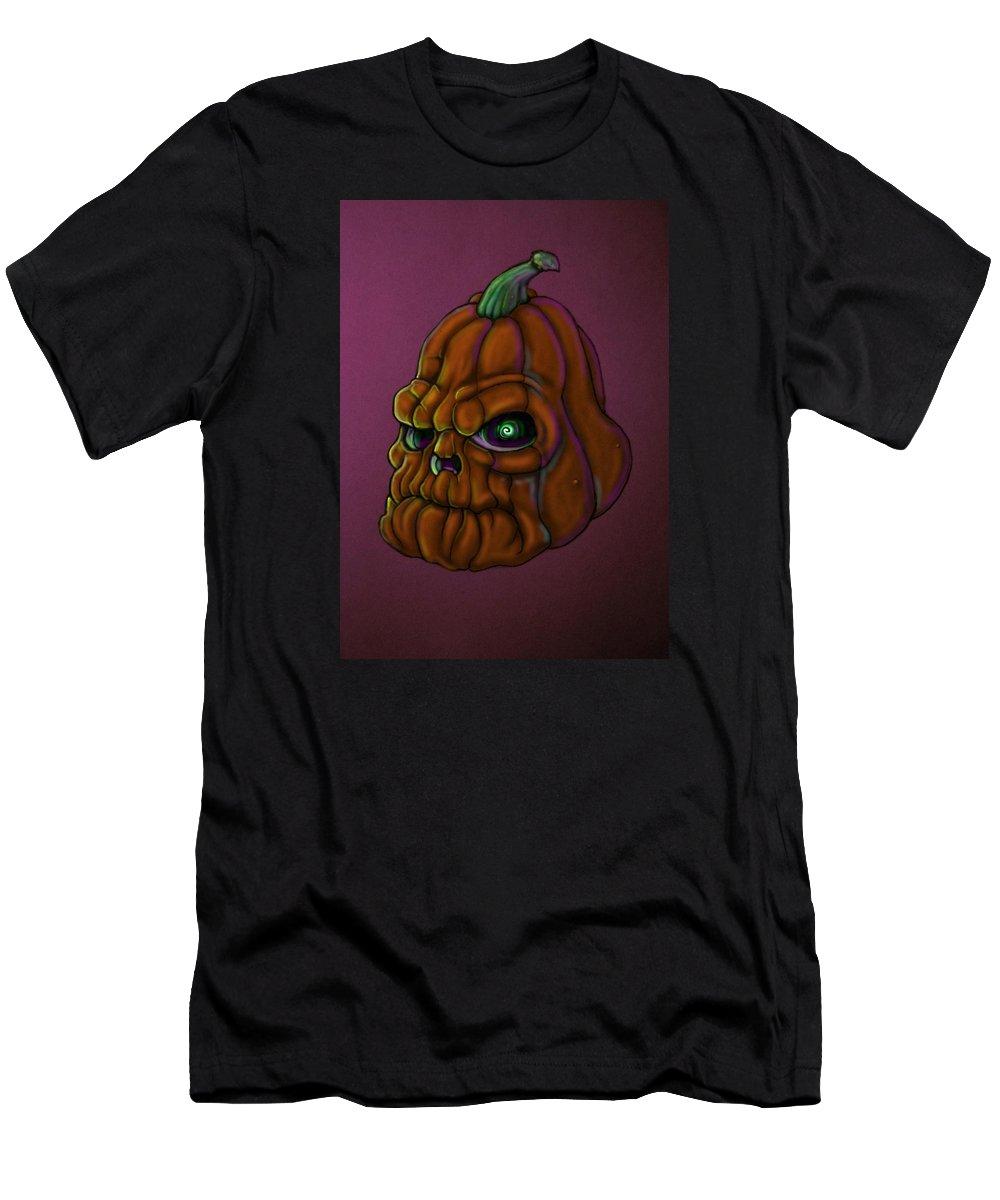 Pumpkin Men's T-Shirt (Athletic Fit) featuring the digital art Grumpypumps by Lance Shaffer