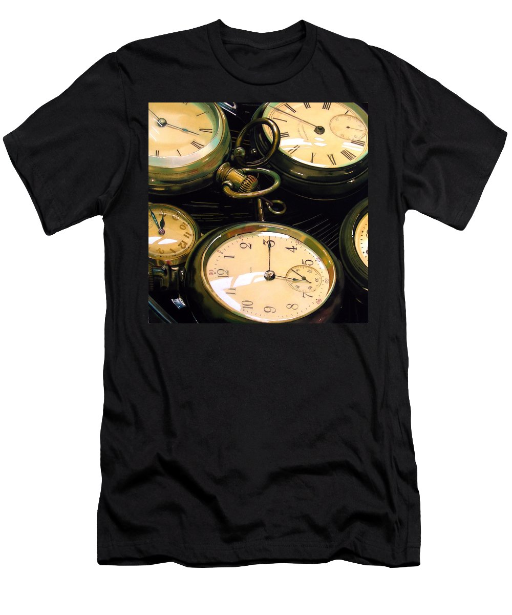Clocks Men's T-Shirt (Athletic Fit) featuring the painting Guardians Of Time by Denny Bond