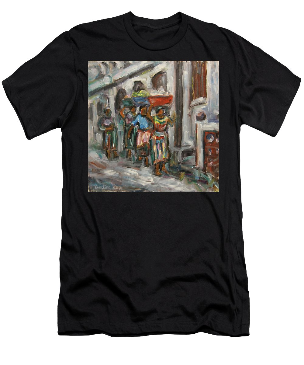 Mayan Men's T-Shirt (Athletic Fit) featuring the painting Guatemala Impression V - Left Hand 1 by Xueling Zou