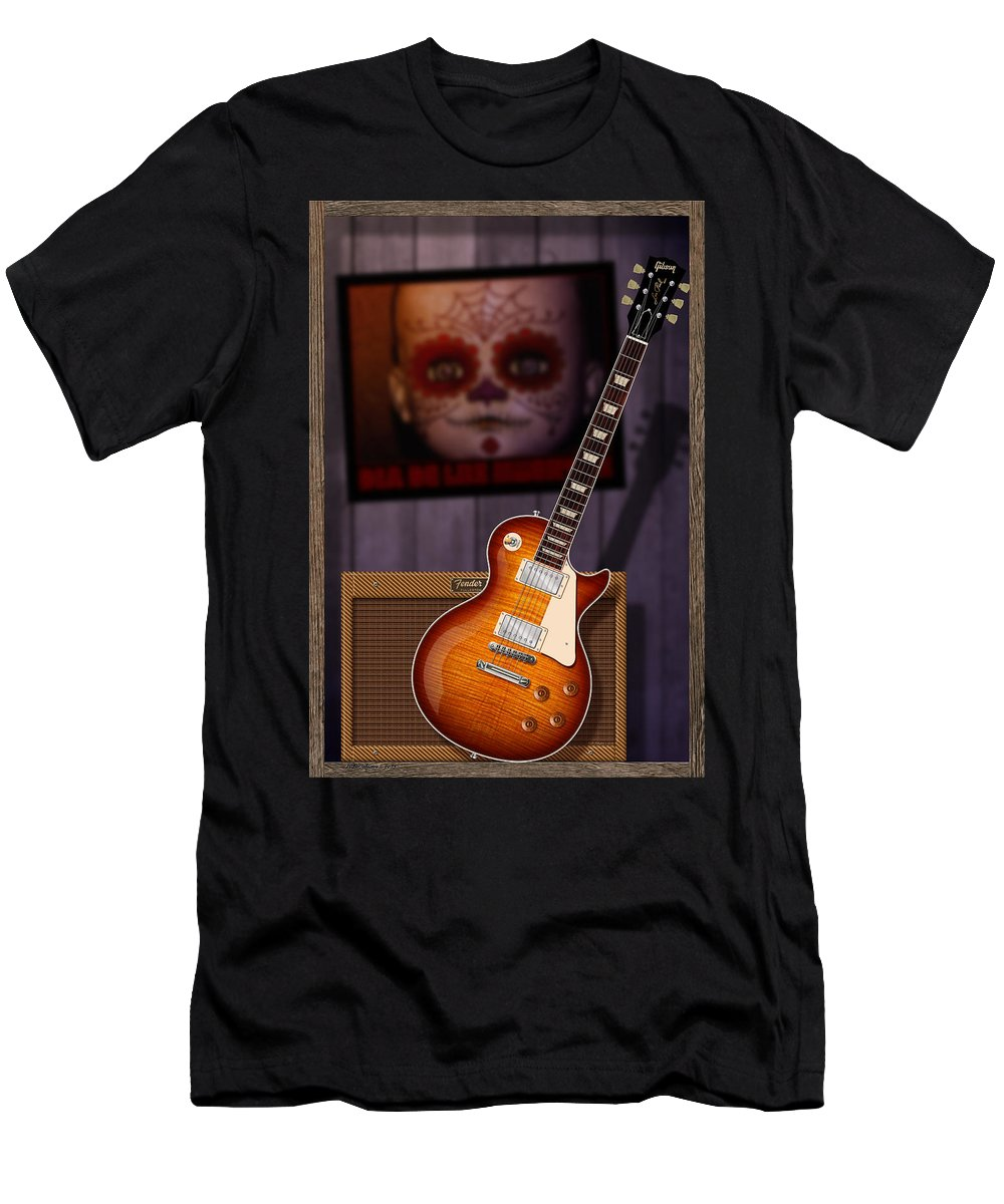 Gibson Les Paul Men's T-Shirt (Athletic Fit) featuring the digital art Guitar Scene by WB Johnston