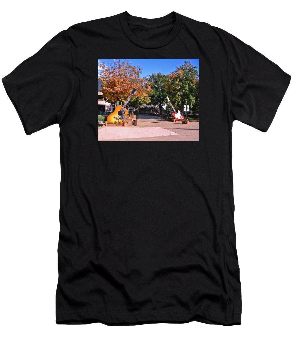 Photograph Men's T-Shirt (Athletic Fit) featuring the photograph Guitars At The Grand Old Opry by Marian Bell
