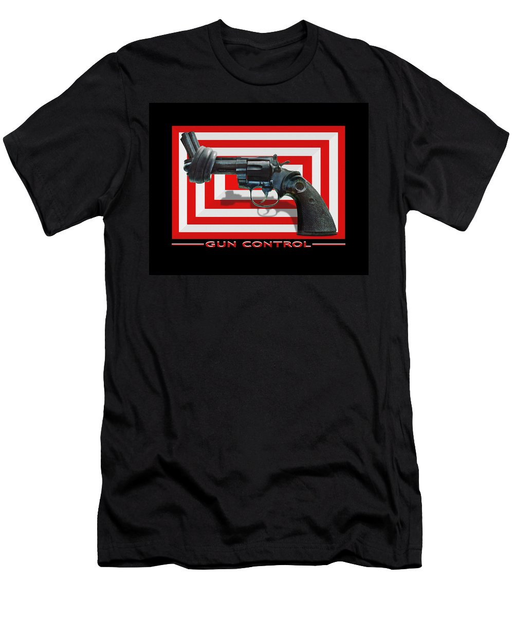 Twisted Hand Gun Men's T-Shirt (Athletic Fit) featuring the photograph Gun Control by Mike McGlothlen