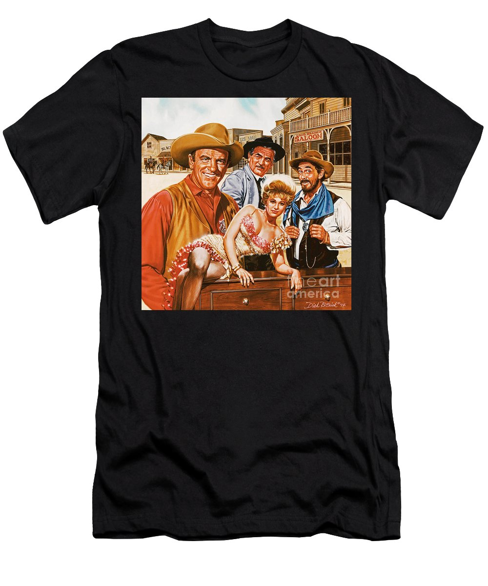 Portrait Men's T-Shirt (Athletic Fit) featuring the painting Gunsmoke by Dick Bobnick