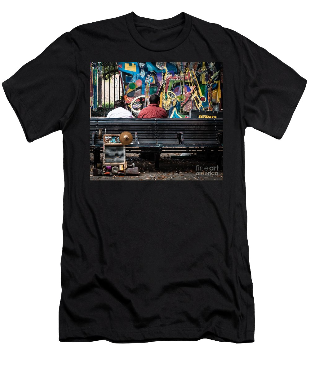 Bench Men's T-Shirt (Athletic Fit) featuring the photograph Guys On A Bench - Jackson Square by Kathleen K Parker