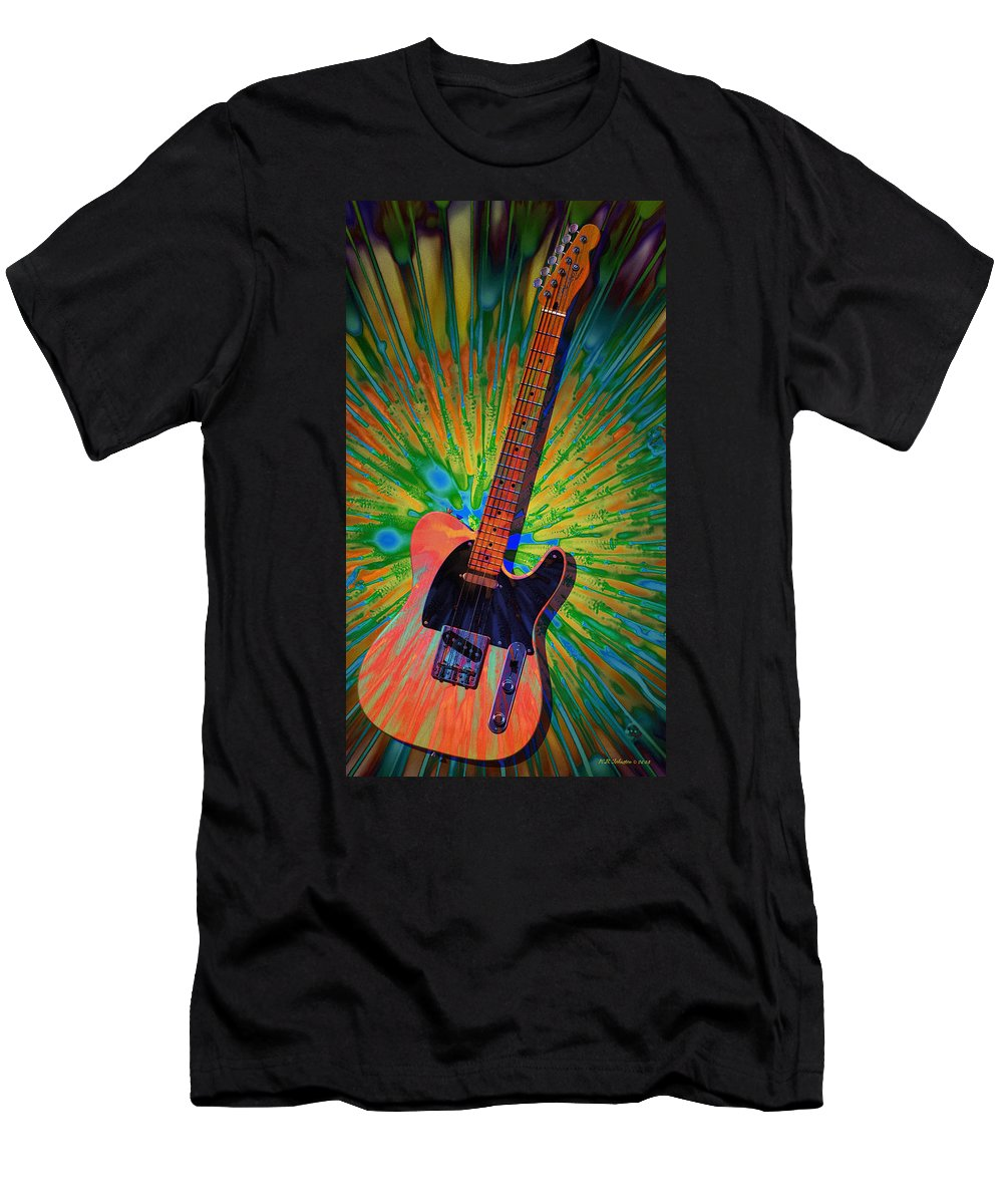 Telecaster Men's T-Shirt (Athletic Fit) featuring the digital art Haight Ashbury Tele by WB Johnston