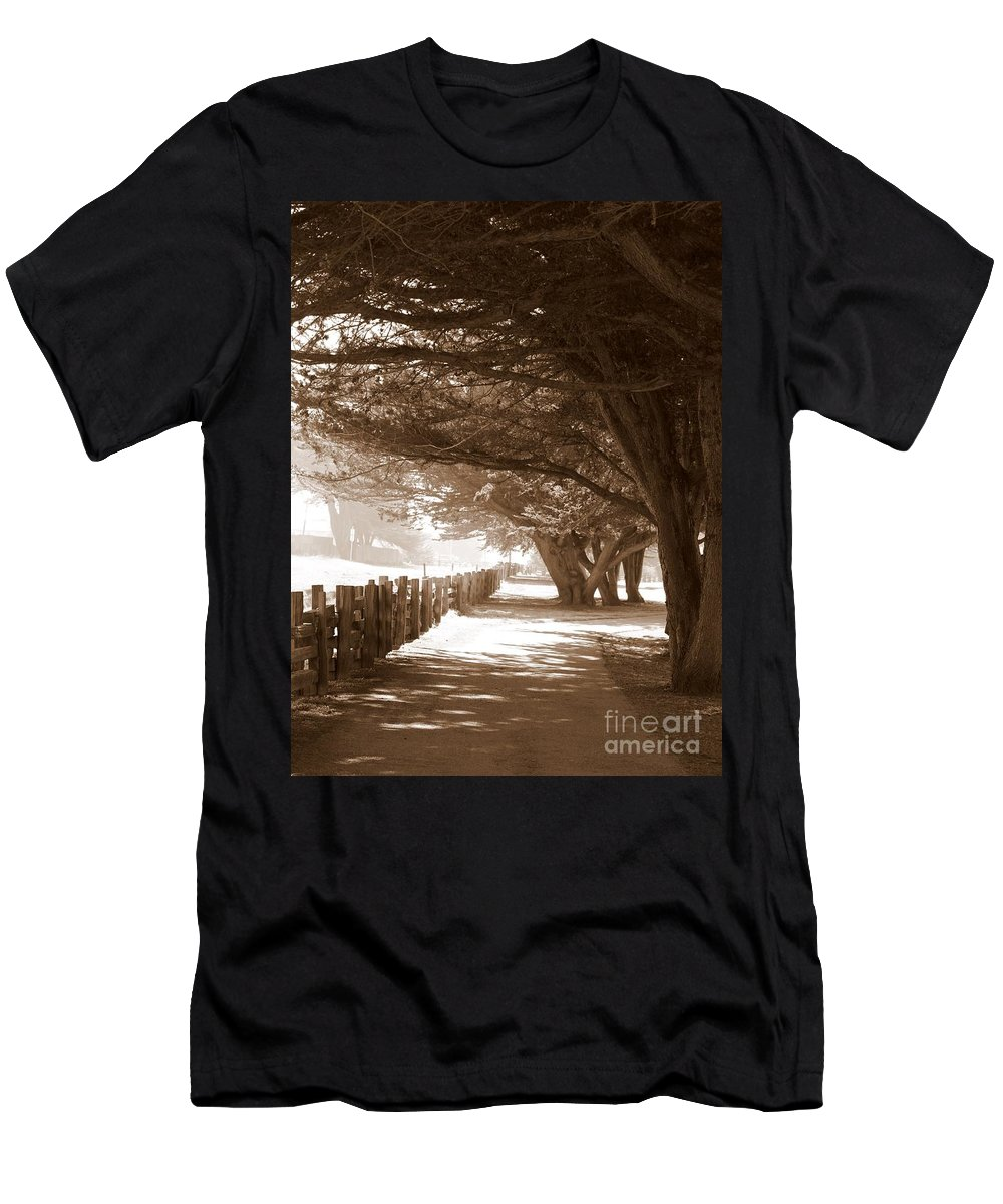 Sepia Men's T-Shirt (Athletic Fit) featuring the photograph Half Moon Bay Pathway by Carol Groenen
