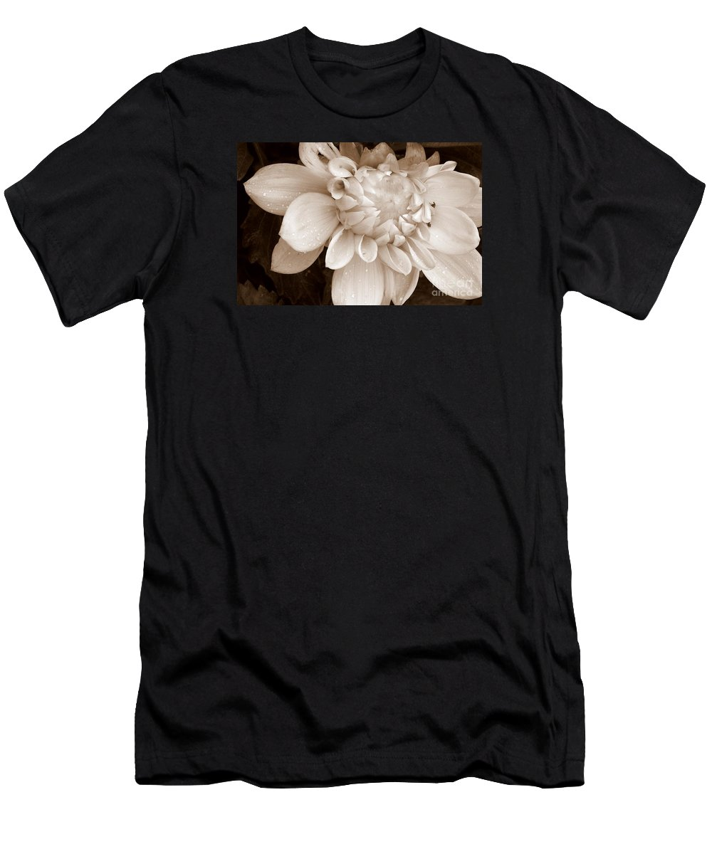Dahlia Men's T-Shirt (Athletic Fit) featuring the photograph Half Open by Eunice Miller