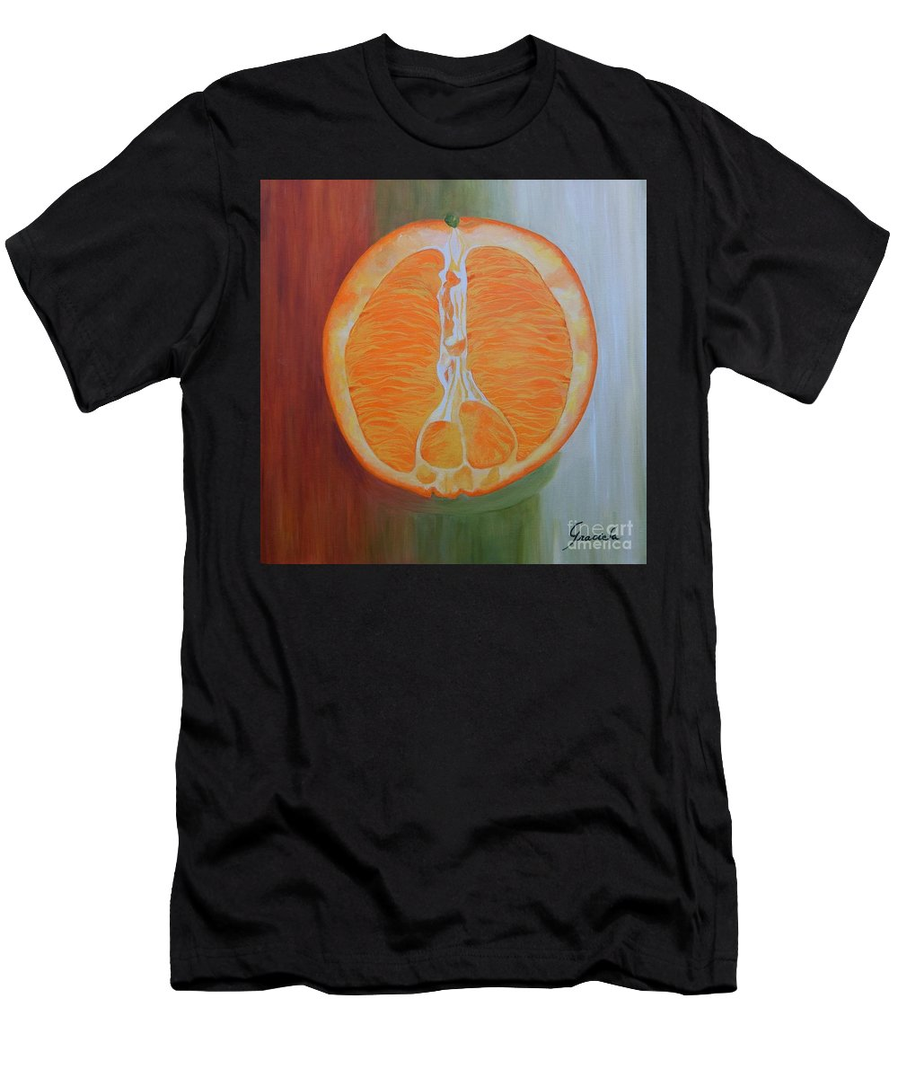 Fruit Men's T-Shirt (Athletic Fit) featuring the painting Half Orange by Graciela Castro