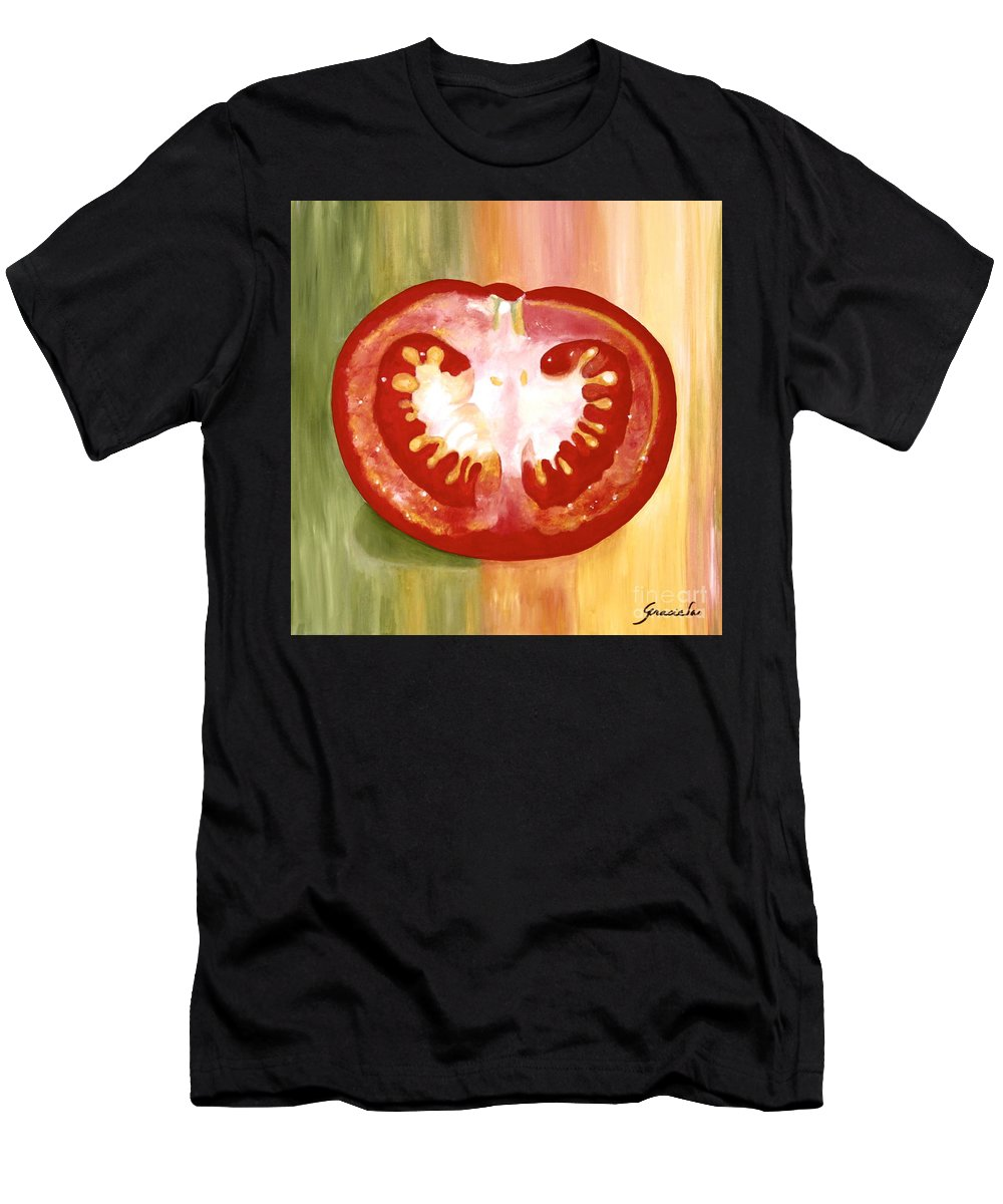 Half Tomato Men's T-Shirt (Athletic Fit) featuring the painting Half-tomato by Graciela Castro