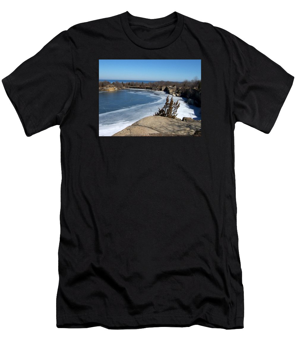 Halibut State Park Men's T-Shirt (Athletic Fit) featuring the photograph Icy Quarry by Catherine Gagne