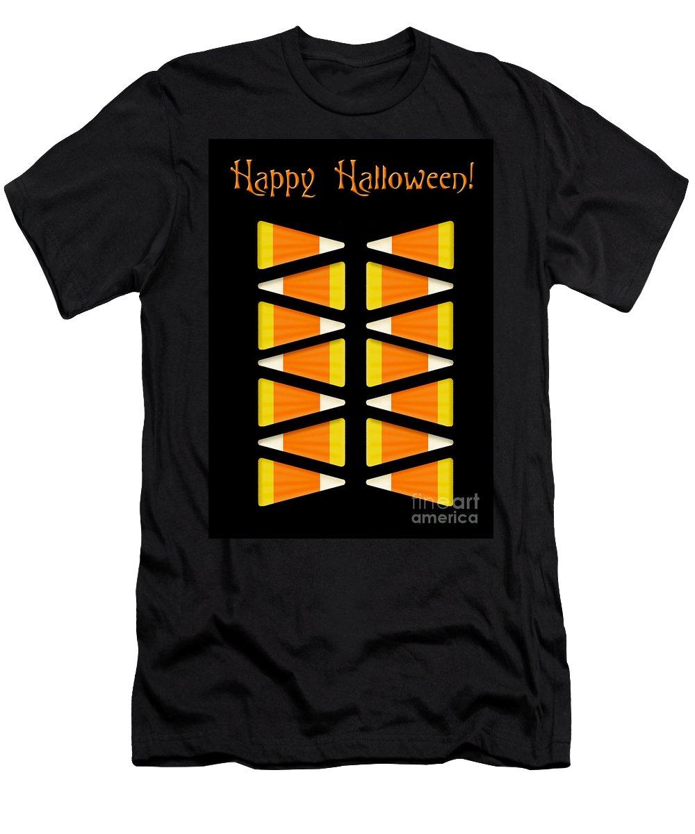 Halloween Men's T-Shirt (Athletic Fit) featuring the digital art Halloween Candy Corn by Melissa A Benson