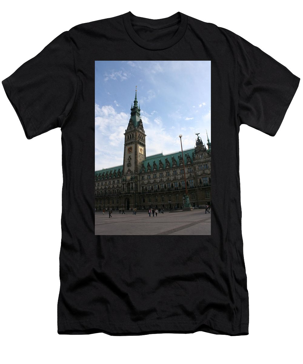 Hamburg Men's T-Shirt (Athletic Fit) featuring the photograph Hamburg - City Hall - Germany by Christiane Schulze Art And Photography