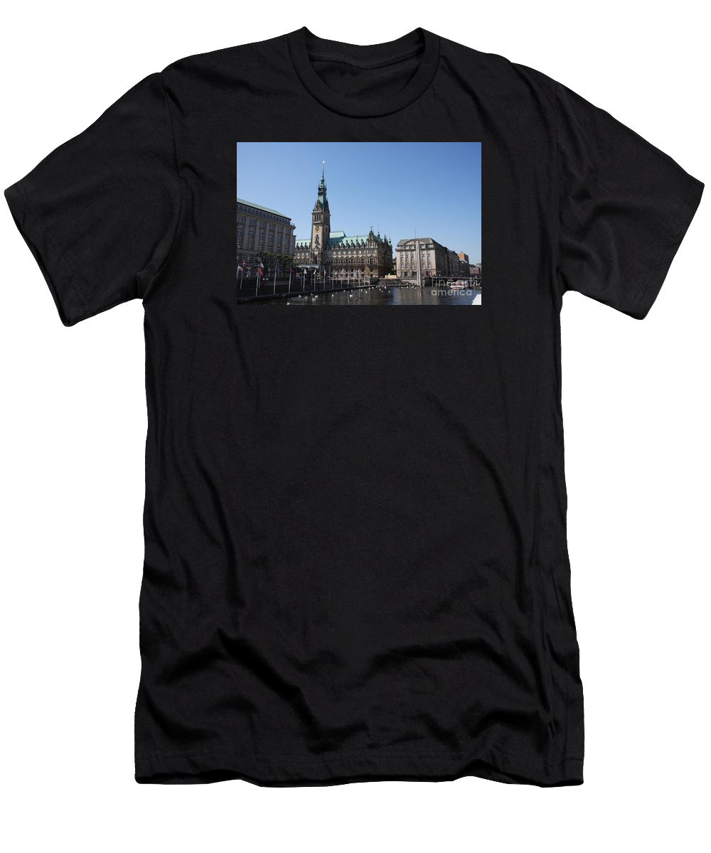 Hamburg Men's T-Shirt (Athletic Fit) featuring the photograph Hamburg - City Hall With Fleet - Germany by Christiane Schulze Art And Photography