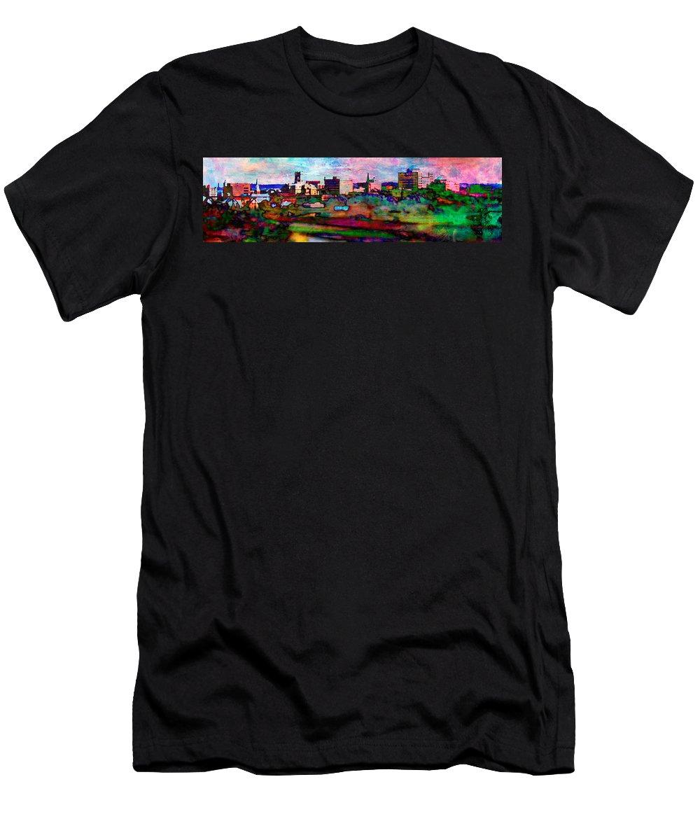 Hamilton Ohio Men's T-Shirt (Athletic Fit) featuring the digital art Hamilton Ohio City Art 10 by Mary Clanahan