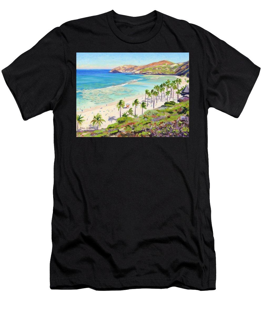 Hanauma Bay Men's T-Shirt (Athletic Fit) featuring the painting Hanauma Bay - Oahu by Steve Simon