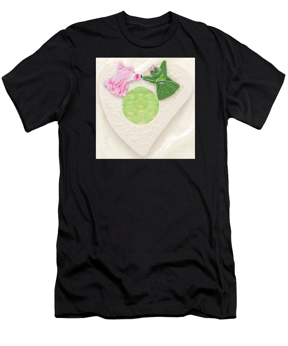 Hand In Hand Into Adventure Land Men's T-Shirt (Athletic Fit) featuring the relief Hand In Hand Into Adventure Land by Heidi Sieber