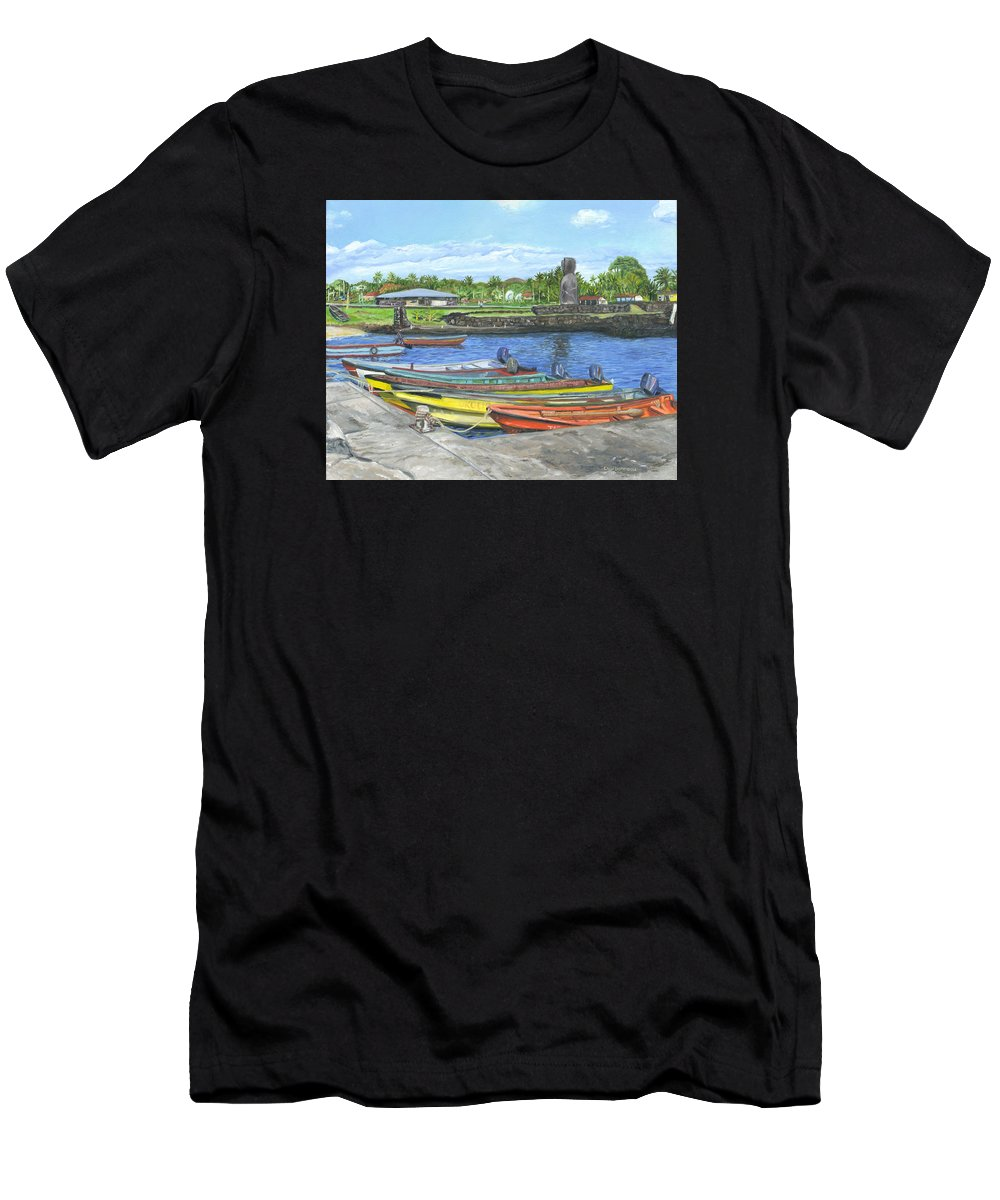 Easter Island Men's T-Shirt (Athletic Fit) featuring the painting Hanga Roa Harbour by Brent Charbonneau