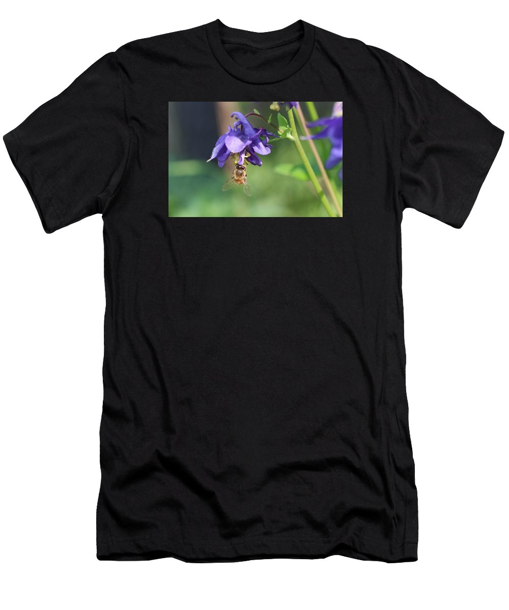 Honeybee Men's T-Shirt (Athletic Fit) featuring the photograph Hanging From A Colombine by Lucinda VanVleck
