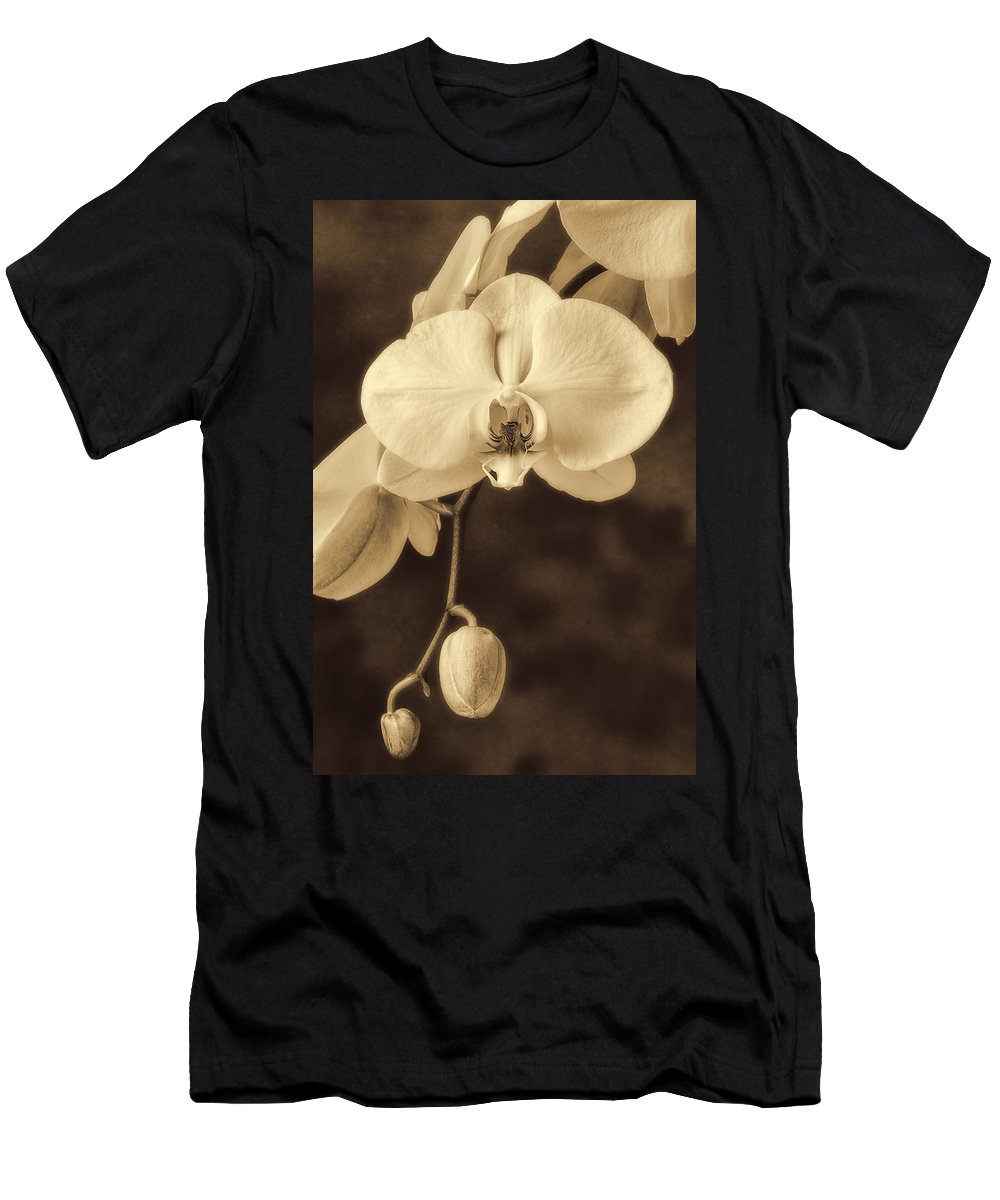 Hanging White Orchids Men's T-Shirt (Athletic Fit) featuring the photograph Hanging Orchid by Garry Gay