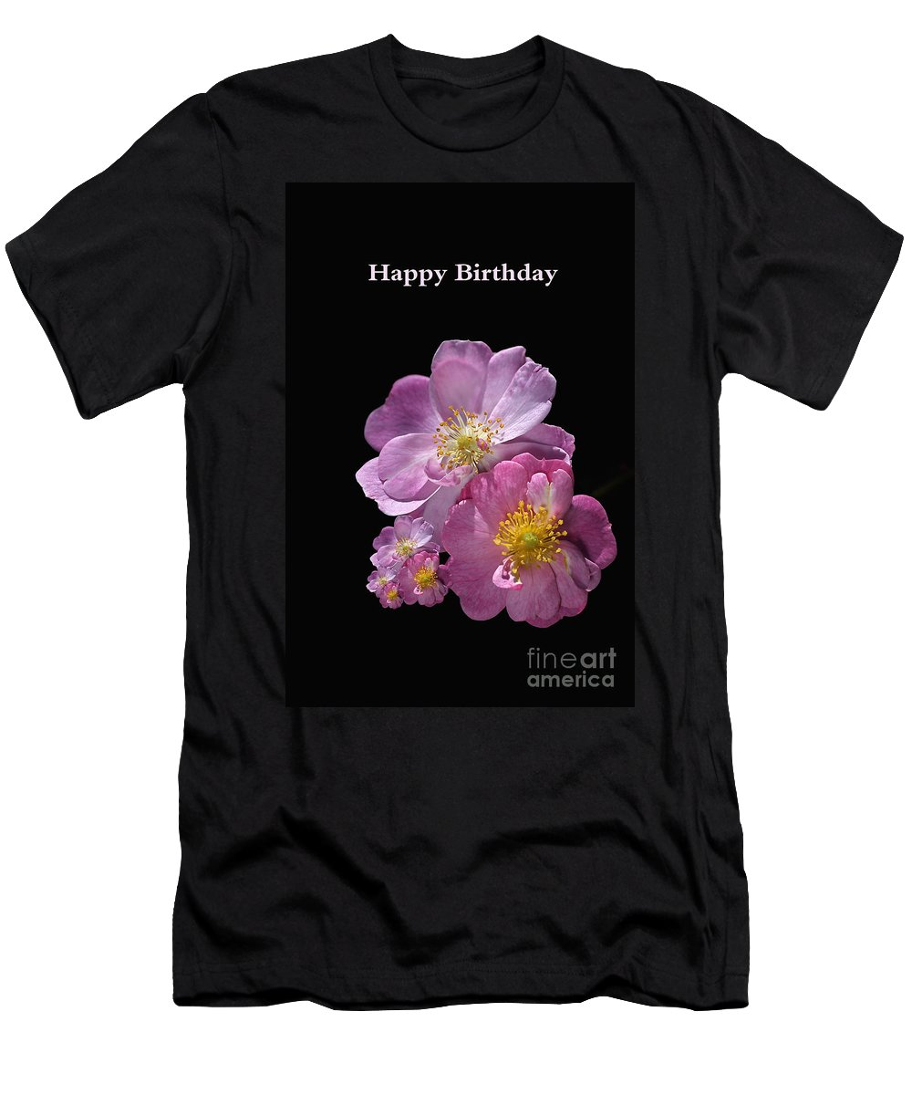 Happy Birthday Men's T-Shirt (Athletic Fit) featuring the photograph Happy Birthday Pink Roses by Joy Watson