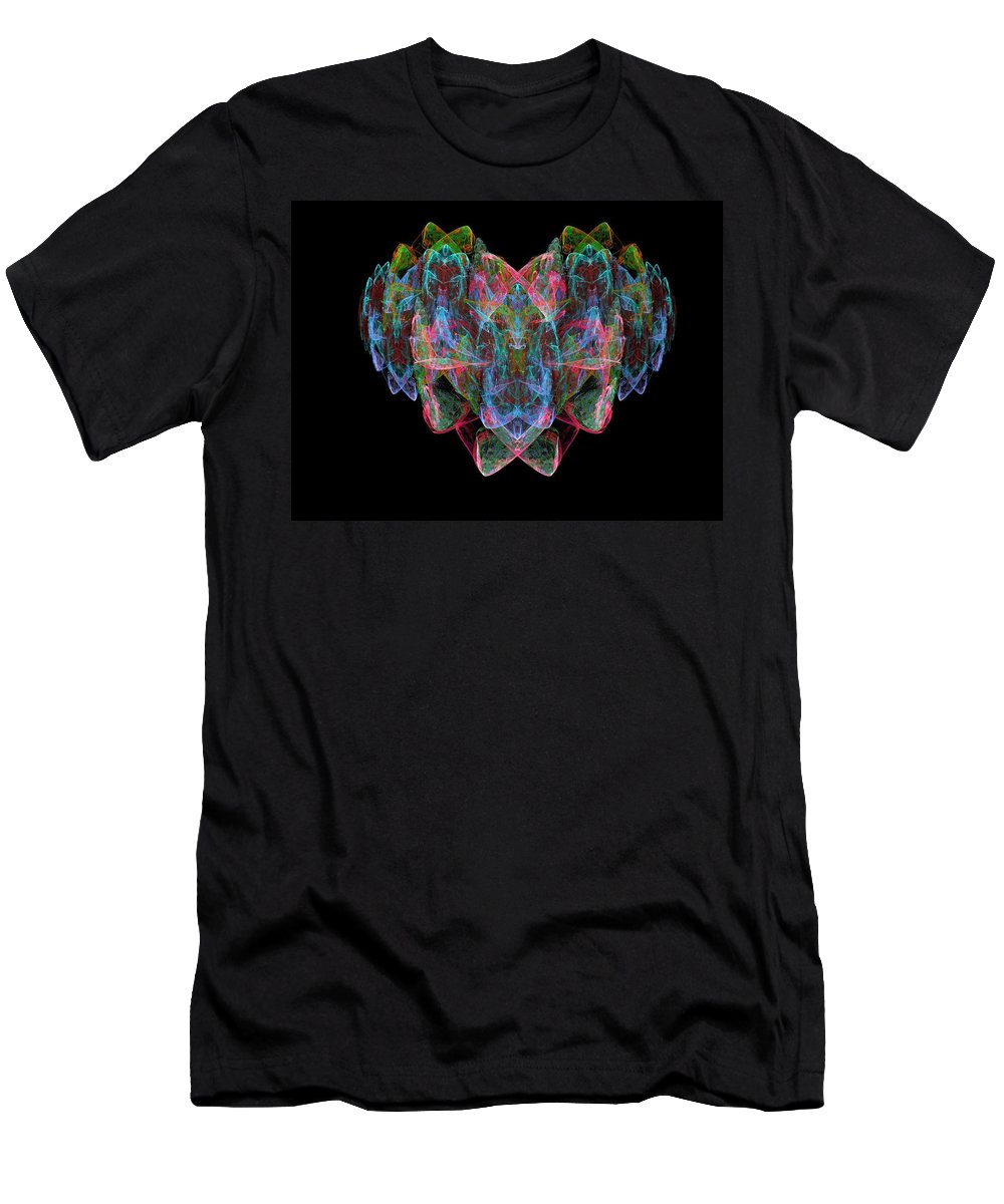 Fractal Men's T-Shirt (Athletic Fit) featuring the painting Happy Heart by Bruce Nutting