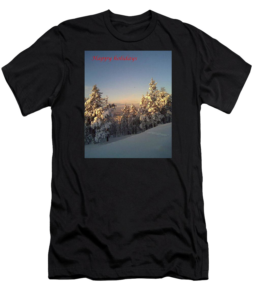 Winter Men's T-Shirt (Athletic Fit) featuring the photograph Happy Holidays In Deep Snow by Hilde Widerberg