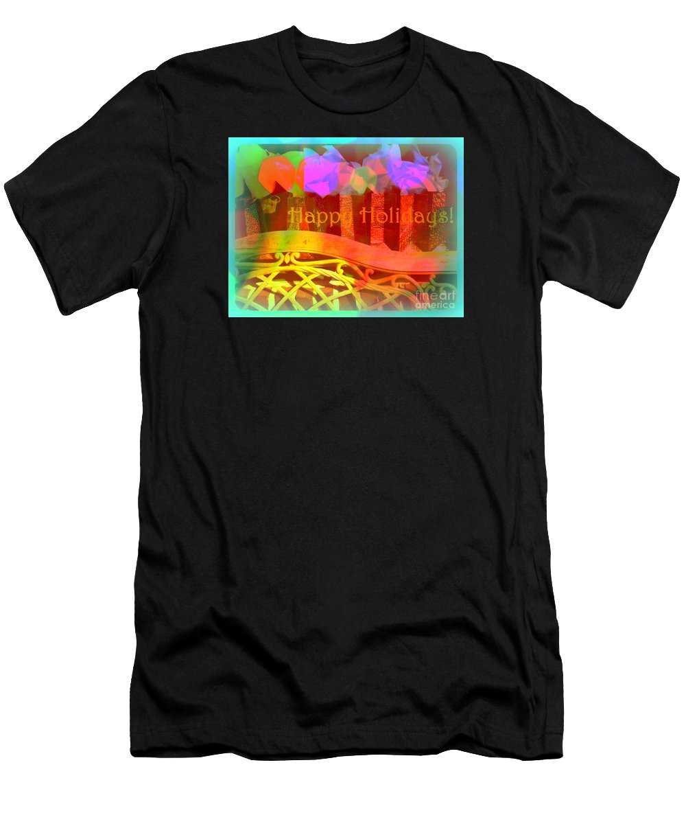 Christmas Packages Men's T-Shirt (Athletic Fit) featuring the photograph Happy Holidays - Christmas Packages - Holiday And Christmas Card by Miriam Danar