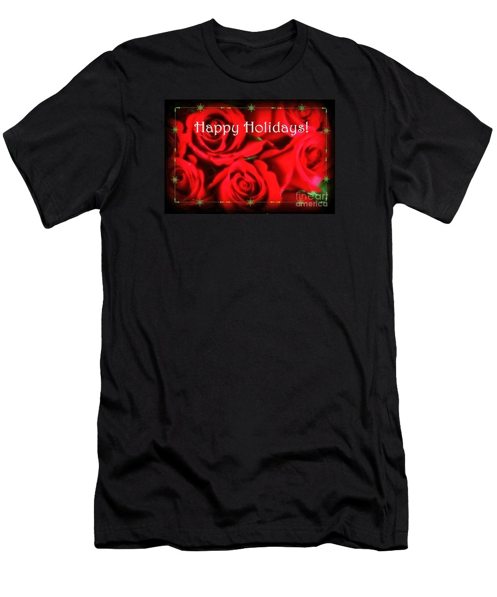 Roses Men's T-Shirt (Athletic Fit) featuring the photograph Happy Holidays - Red Roses Green Sparkles - Holiday And Christmas Card by Miriam Danar