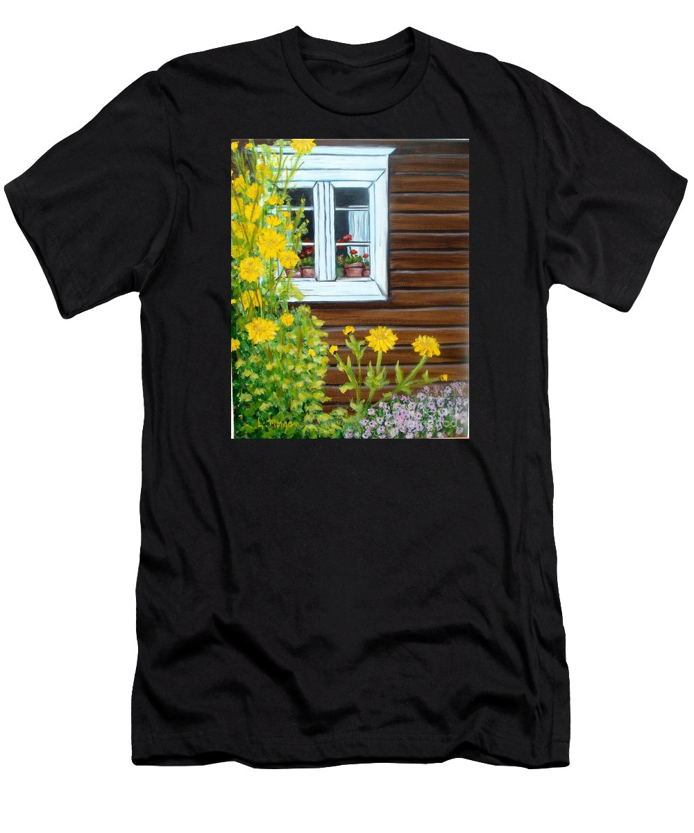 Window T-Shirt featuring the painting Happy Homestead by Laurie Morgan