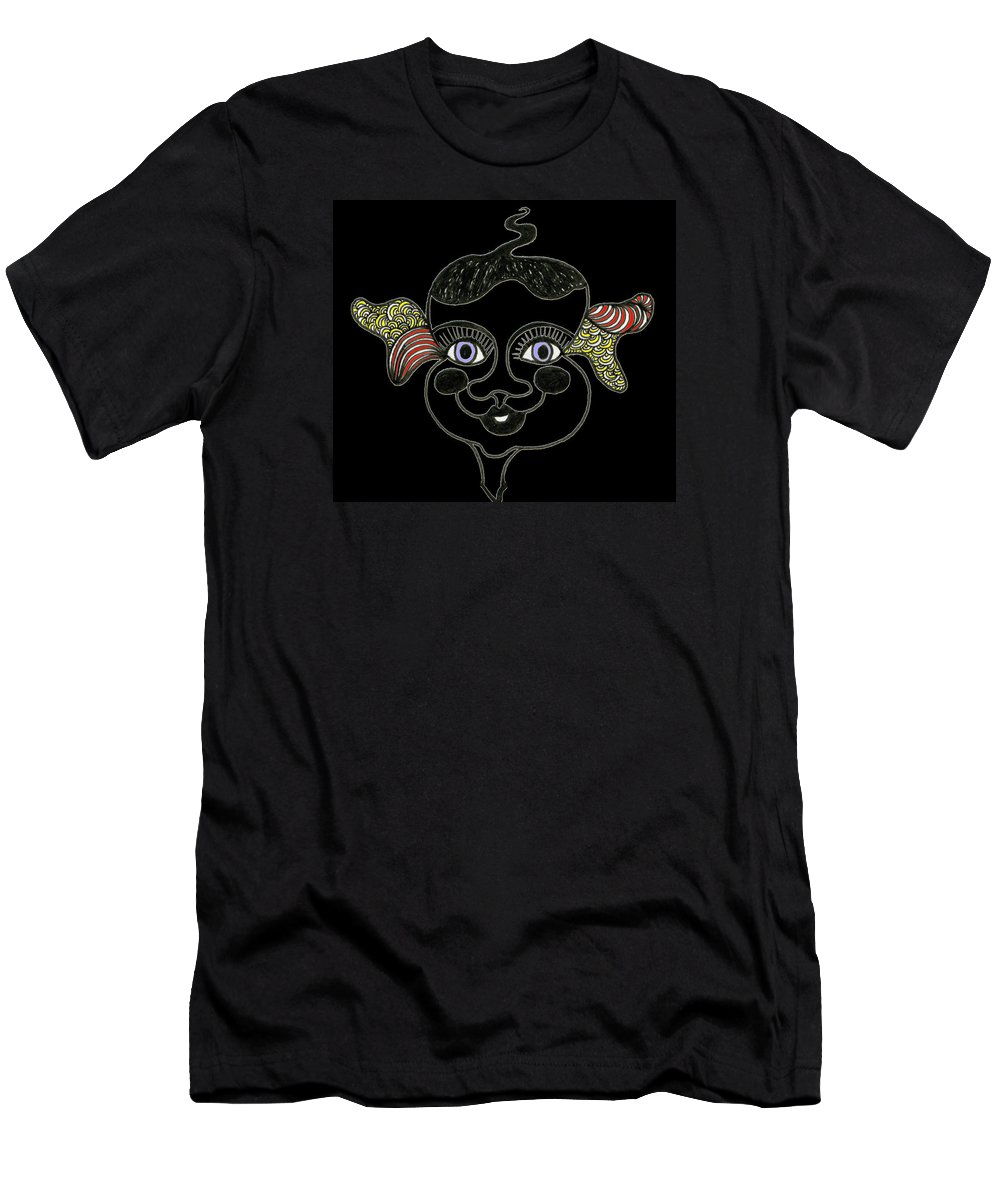 Genia Men's T-Shirt (Athletic Fit) featuring the mixed media Happy Licorice Girl by Genia GgXpress