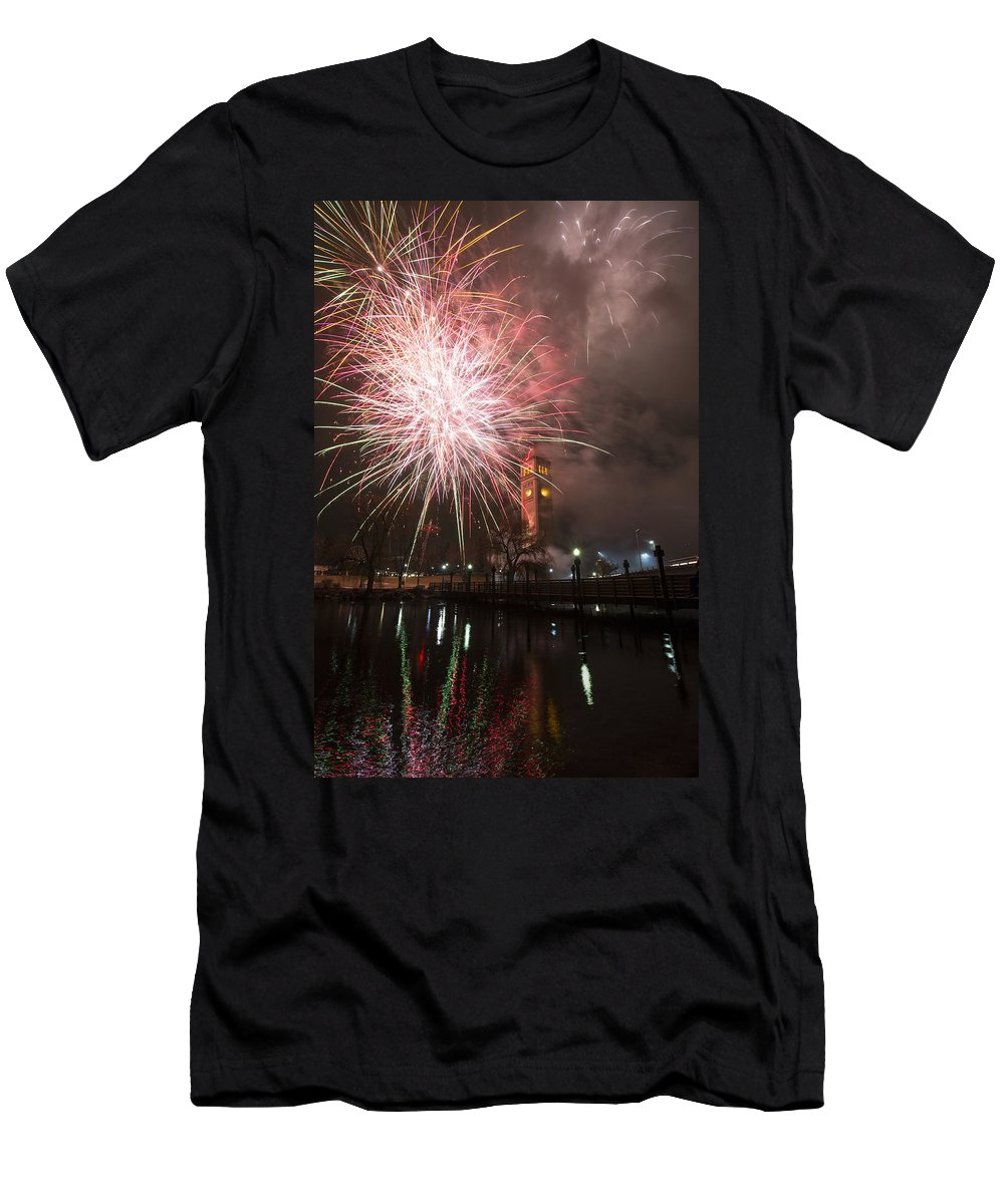 Fireworks Men's T-Shirt (Athletic Fit) featuring the photograph Happy New Year 2014 B by Paul DeRocker