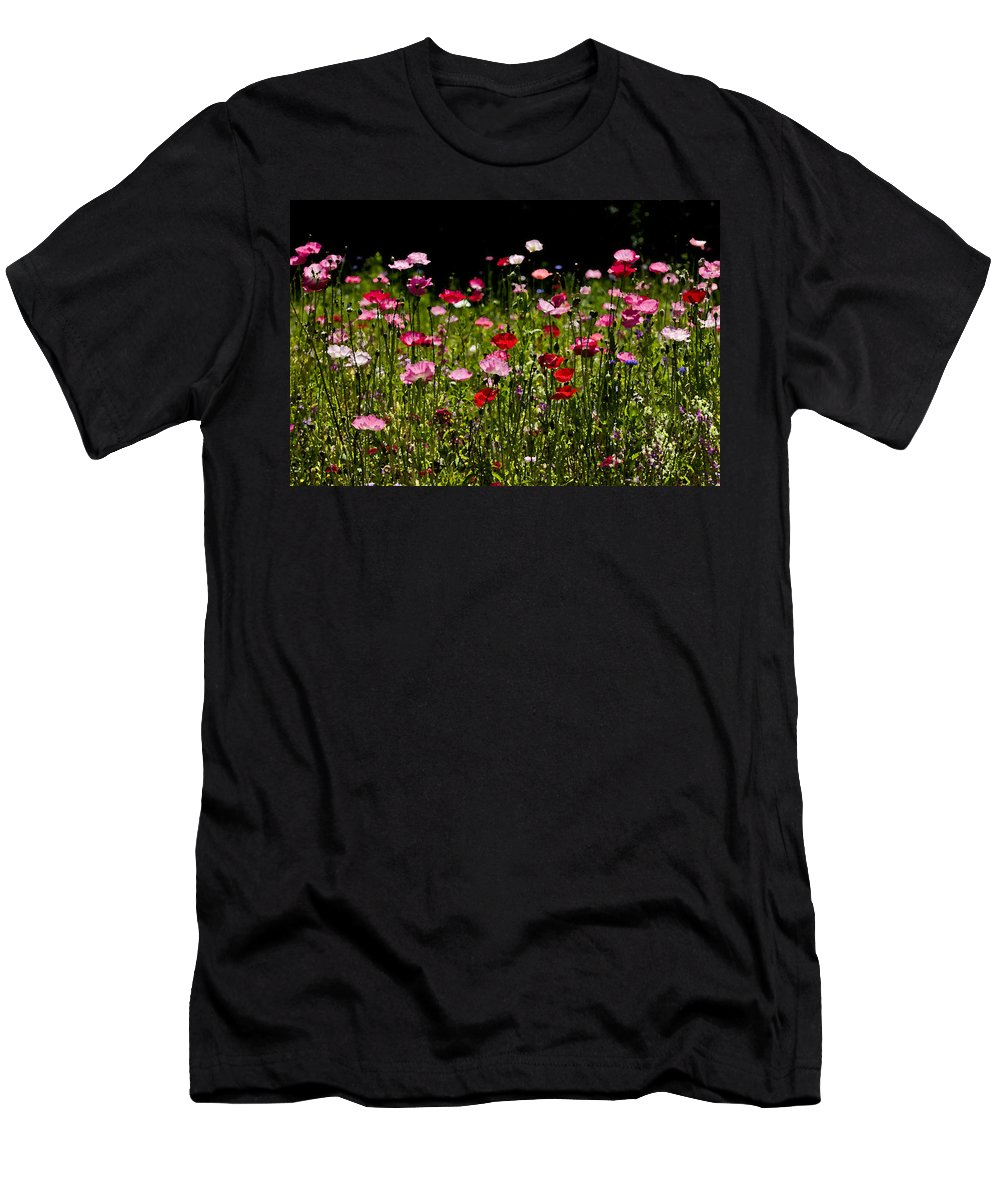 Poppies Men's T-Shirt (Athletic Fit) featuring the photograph Happy Poppies by Rich Franco