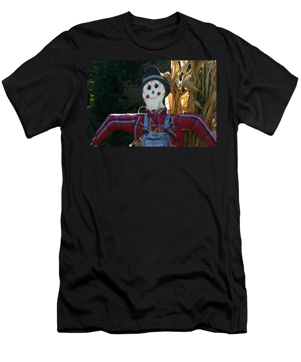 Happy Scarecrow Men's T-Shirt (Athletic Fit) featuring the photograph Happy Scarecrow by Denyse Duhaime