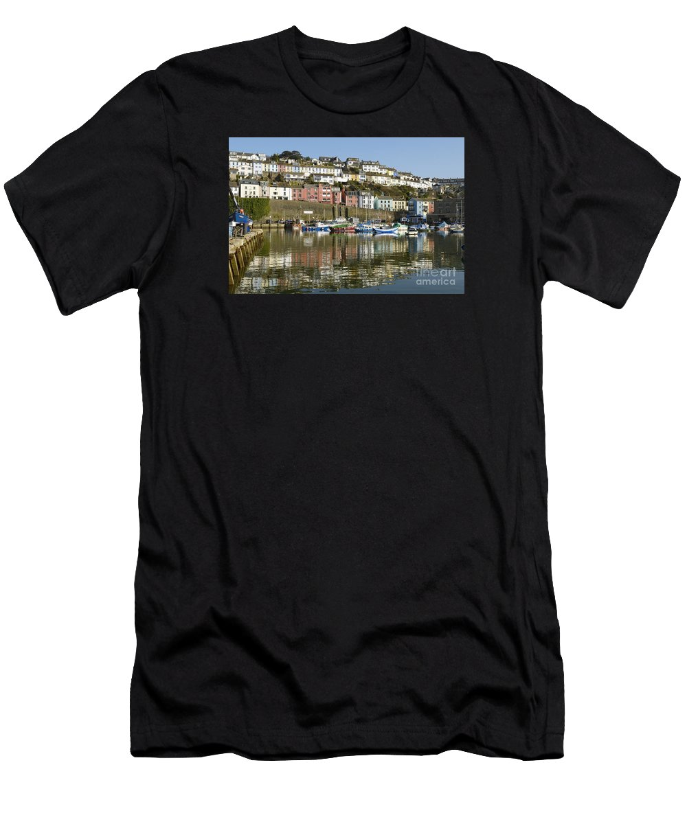 Mirrored Men's T-Shirt (Athletic Fit) featuring the photograph Harbour Mirrored by Wendy Wilton