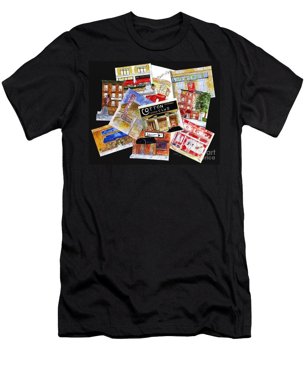 Harlem Men's T-Shirt (Athletic Fit) featuring the digital art Harlem Jazz Clubs by AFineLyne