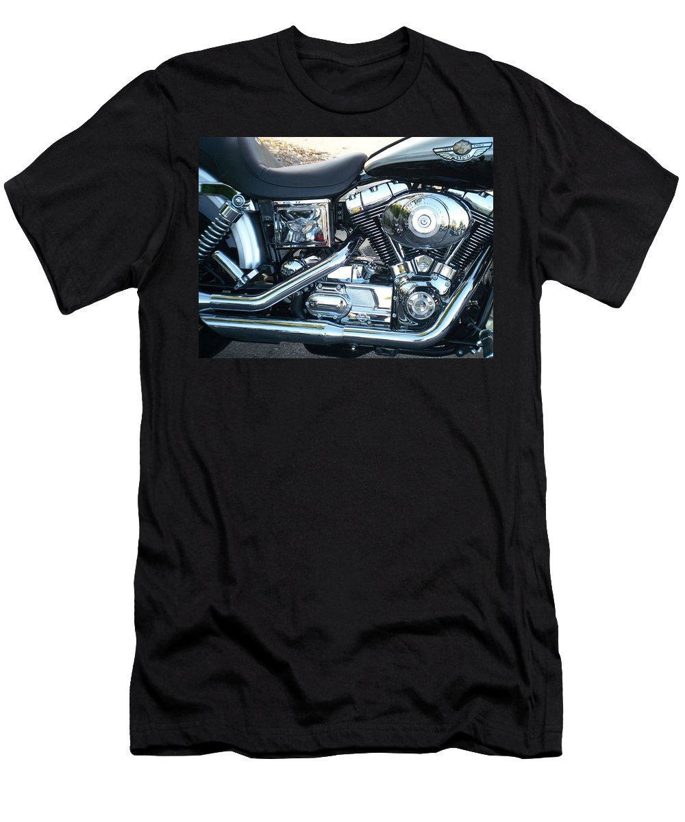Motorcycles Men's T-Shirt (Athletic Fit) featuring the photograph Harley Black And Silver Sideview by Anita Burgermeister