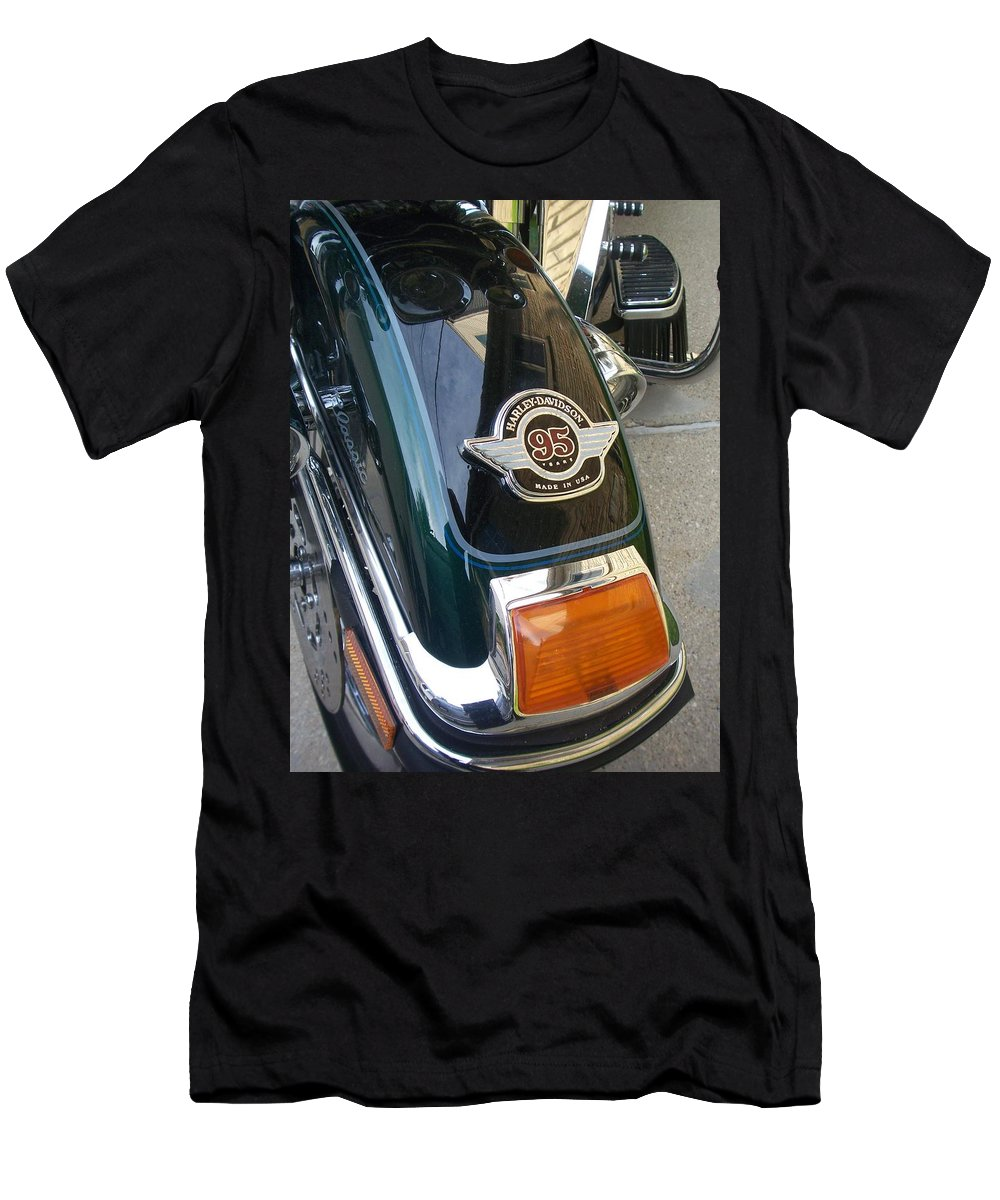 Motorcycles Men's T-Shirt (Athletic Fit) featuring the photograph Harley Close-up Tail Light by Anita Burgermeister