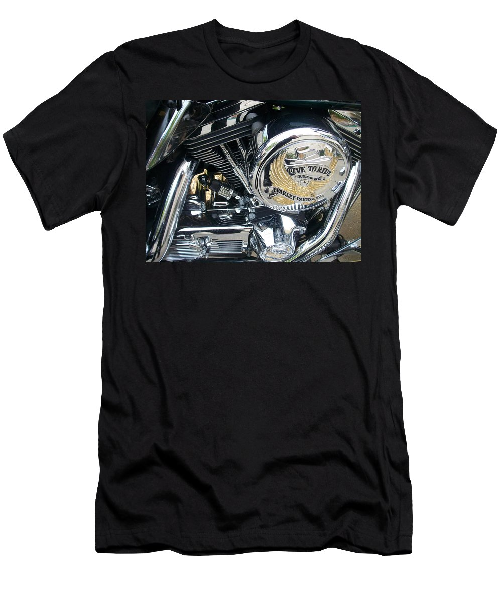 Motorcycles Men's T-Shirt (Athletic Fit) featuring the photograph Harley Live To Ride by Anita Burgermeister