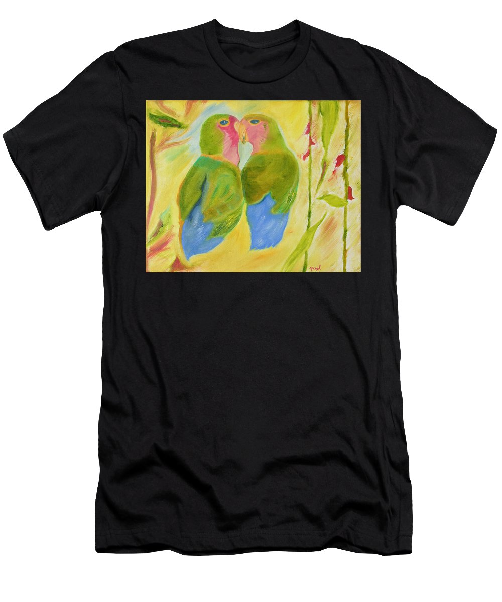 Love Birds Men's T-Shirt (Athletic Fit) featuring the painting Harmony by Meryl Goudey