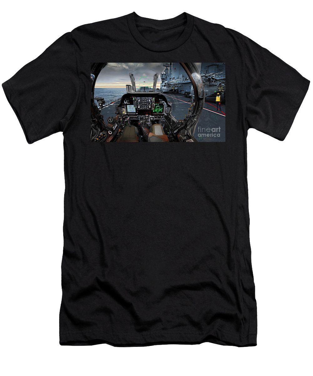 Gr9 Men's T-Shirt (Athletic Fit) featuring the photograph Harrier Cockpit by Paul Fearn