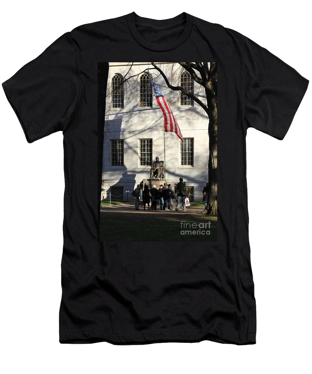 America Men's T-Shirt (Athletic Fit) featuring the photograph Harvard Statue by Jannis Werner