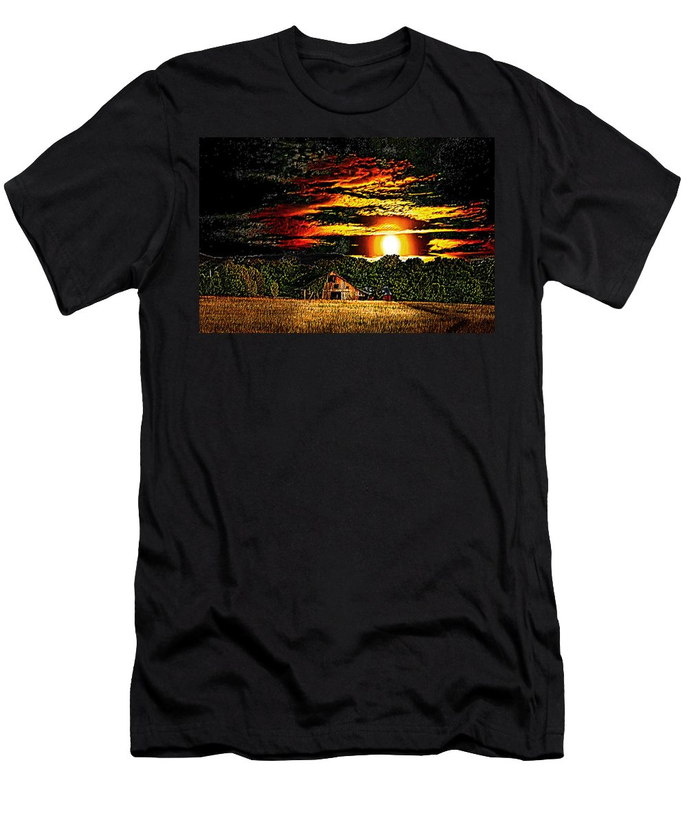 Photoart Men's T-Shirt (Athletic Fit) featuring the photograph Harvest Moon And Late Barn by Randall Branham